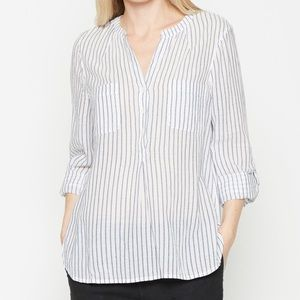Joie Alona Cotton Striped Long Sleeve Blouse Top